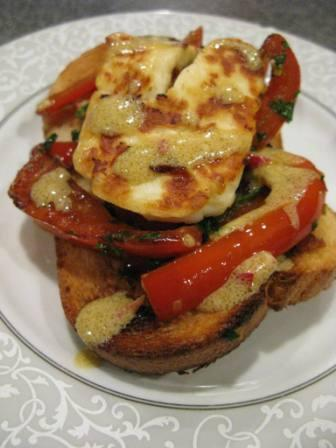 Halloumi with Red Peppers, Capers and Olives Dressing