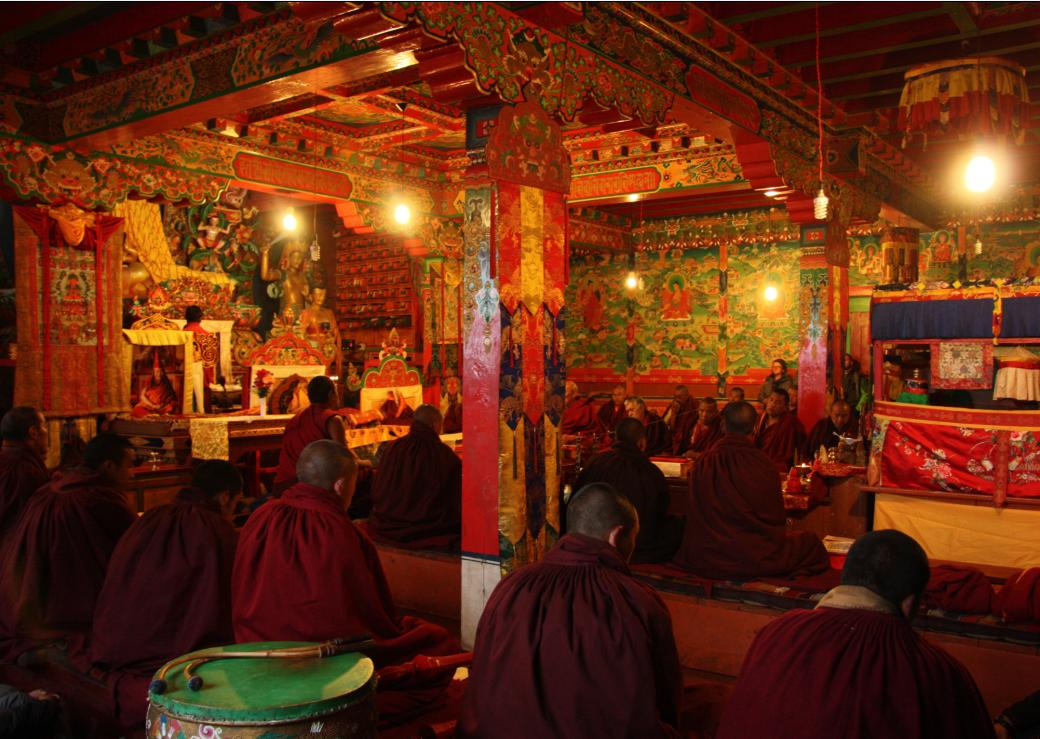 Monks chanting prayers at Tengboche Monastery
