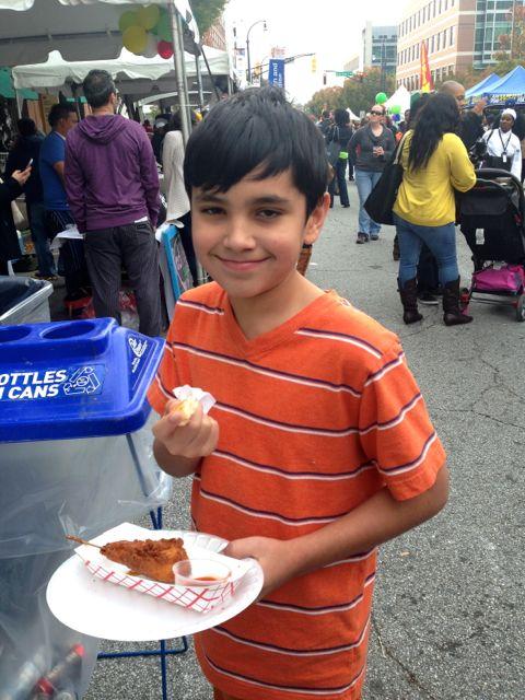 Kids enjoy fried chicken & waffles