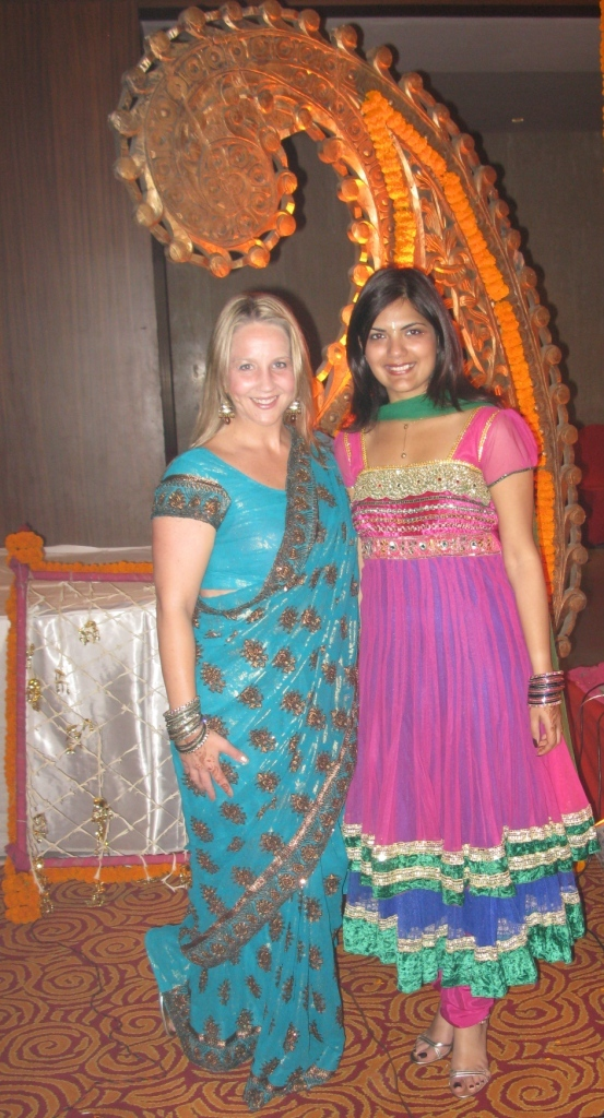 Gina & Sucheta at a wedding in New Delhi