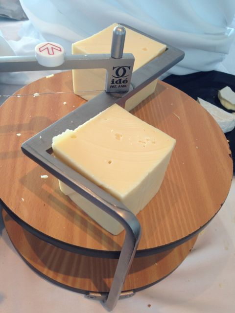 fresh cheese with slicer