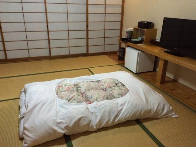 futon in Japanese hotel